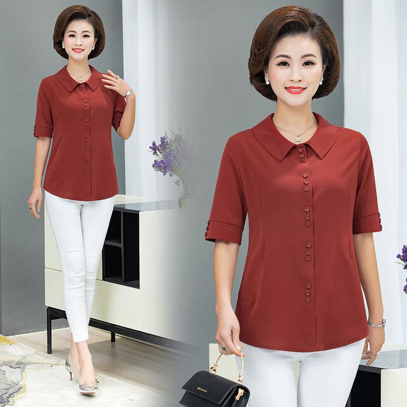 中老年女衬衫新款纯色上衣大码40-50岁翻领小衫妈妈夏装七分袖t恤