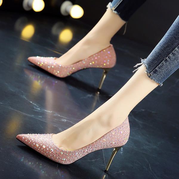 宴会鞋2019春季新款韩版尖头粉色伴娘细跟高跟鞋女满天星水钻单鞋