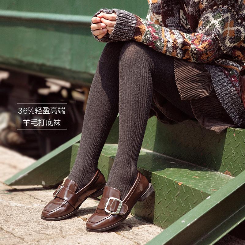 eef763f2a11 Women s wool socks pantyhose autumn and winter thickening plus velvet  pantyhose vertical jacquard pantyhose beauty leg socks