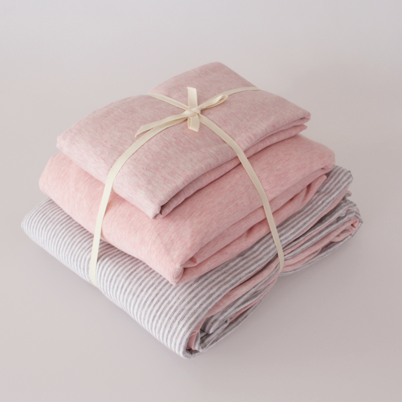 Tianzhu Cotton Bare Sleeping Cotton Four Piece Simple Striped Knit Quilt Sets  Bed Linen Cotton