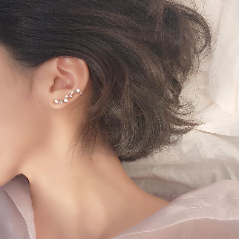 小麋人精致气质闪钻星座星星S925纯银耳钉个性耳排耳骨配饰日韩女