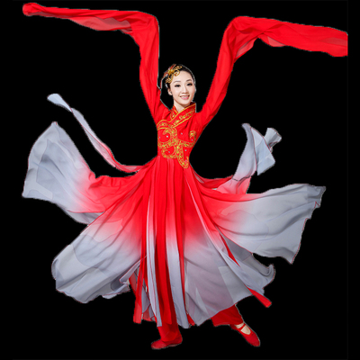 Hanfu Chinese Folk Water Sleeve Dance Costume Classical Dance Costume Chinese Wind Drop Sleeve Shui Yue Luo Shen Jinghong Dance Costume