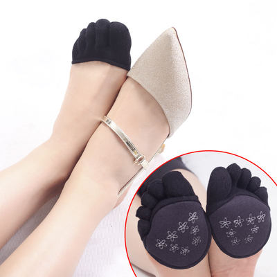 Invisible five-finger boat socks half palm women half toes high heels sandals wear-resistant forefoot socks pure cotton summer thin