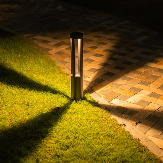 Solar lawn lamp garden lamp outdoor road light waterproof garden villa simple modern ground light circular column lamp