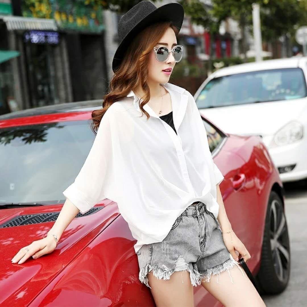 2019春夏季雪纺吊带衫女宽松短袖袖短款夏天白衬衣篇幅蝙蝠衫女
