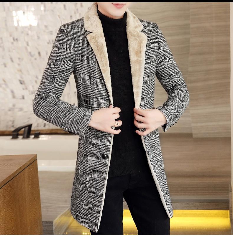 Autumn and winter hair coat men's long coat Korean version handsome men's fashion plus velvet thick windshield 56 Online shopping Bangladesh