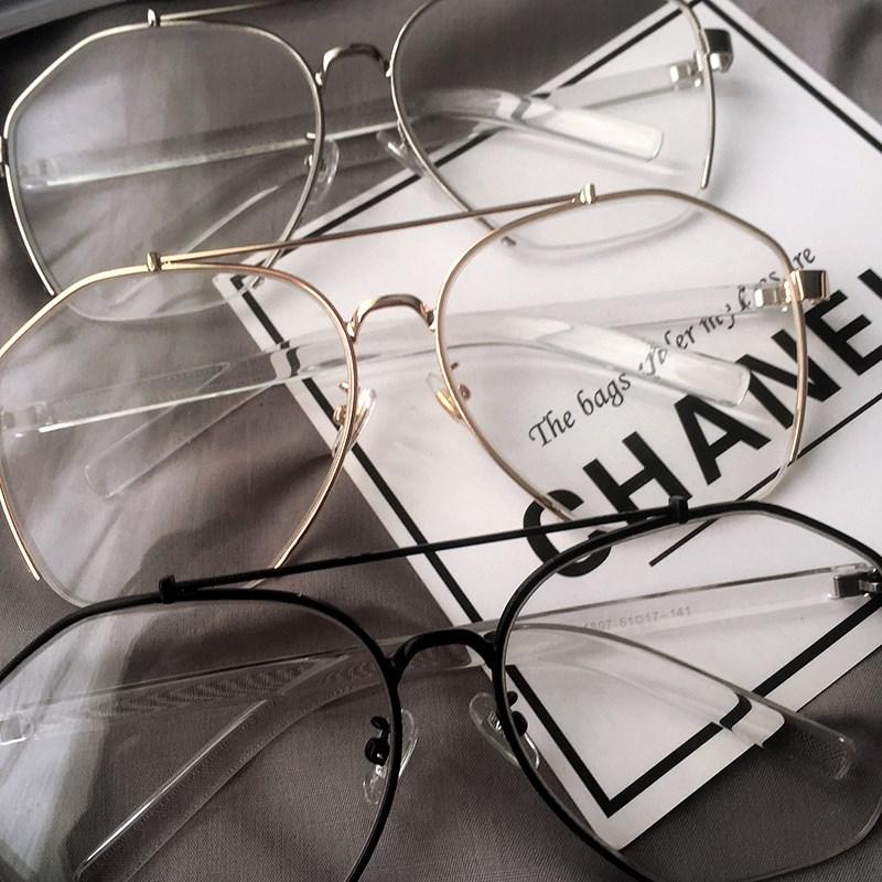 清洗几何斯文败类少女眼镜帅气简约黑色圆形青少年复古黑框现实