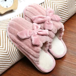 回力棉拖鞋男秋冬季家居室内情侣可爱毛绒家用厚底防滑月子拖鞋女