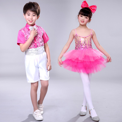Girls Jazz Dance Costumes kindergarten sequins Jazz Dance Costume Girls princess skirt Pengpeng skirt dance skirt