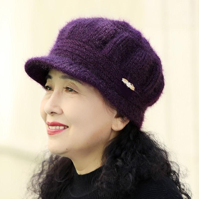 买一送一】冬季加绒加厚帽子女老人帽百搭针织毛线帽中老年妈妈帽