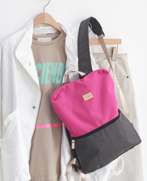 2019春夏新款韩国代购女包拼色帆布轻便大容量双肩包时尚女包包潮