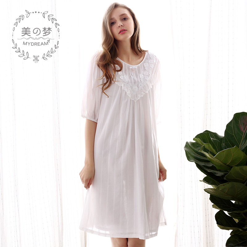 3b0dff0a42 Dream summer retro Palace woven cotton nightdress female Japanese princess  pajamas sexy lace cotton home service