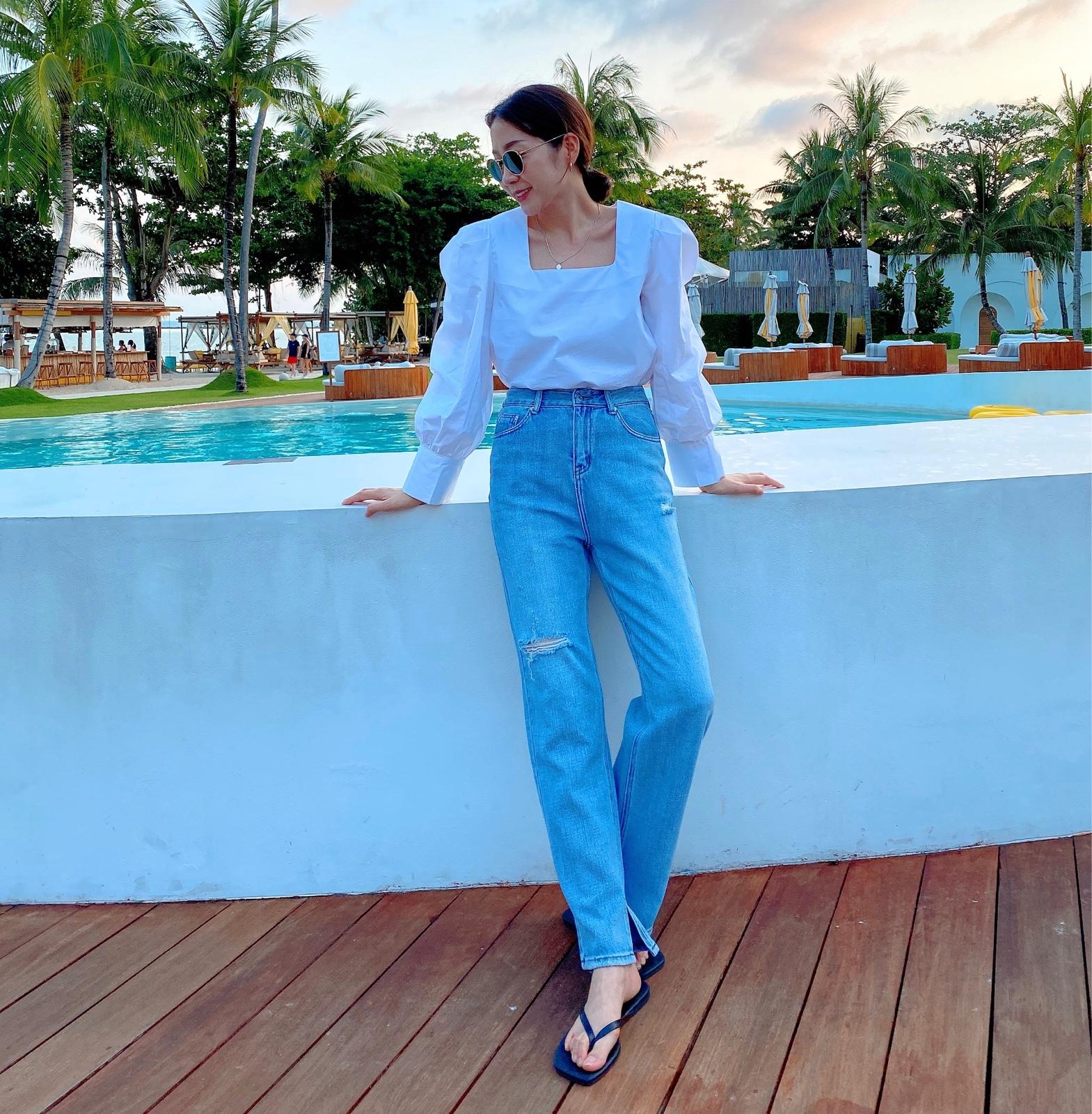 Widelia quần jeans ống rộng nữ 2020 xuân cao eo thẳng phiên bản Hàn Quốc của quần lửng ống rộng - Quần jean