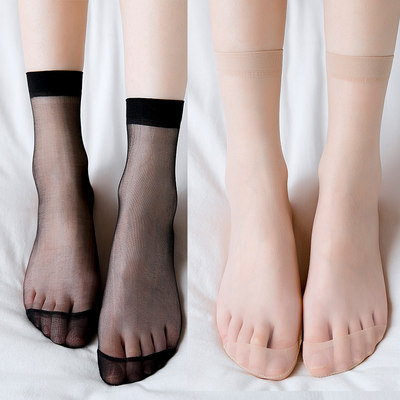 Stockings women thin short crystal silk socks summer complexion in the tube invisible flesh-colored crystal socks summer short tube socks women