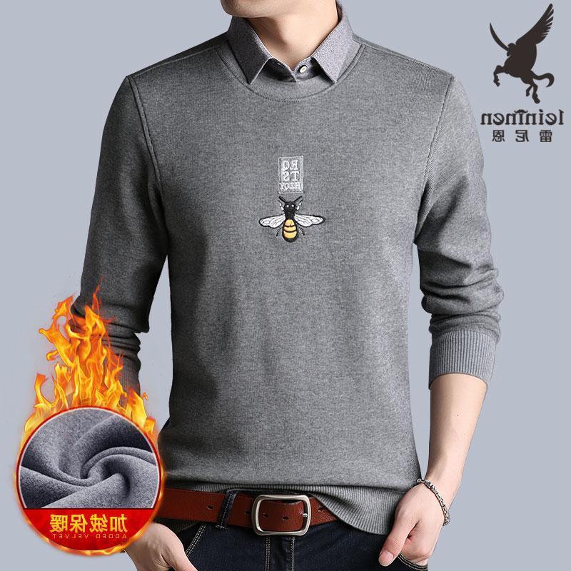 专柜正品牌假两件衬衫领加绒加厚长袖t恤秋冬季保暖男士上衣秋衣