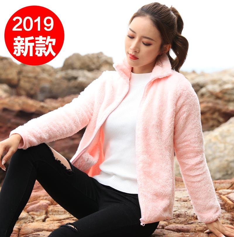 2019新款双面珊瑚绒外穿卫衣女外套羊羔绒摇粒绒加厚开衫抓绒上衣