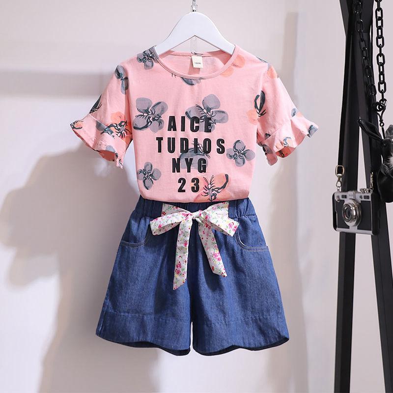 女童夏季短袖套装2021新款女孩纯棉短袖韩版中大童牛仔短裤两件套