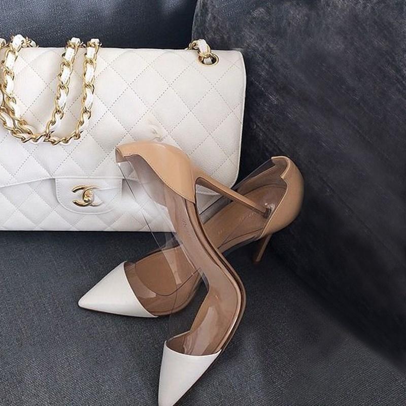 香港代购尖头同款高跟鞋细跟透明单鞋性感女裸色百搭女鞋拼接明星