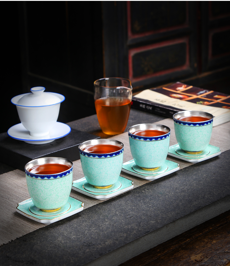 Blue and white porcelain coarse pottery teacup pad small butterfly saucer insulation pad bearing cup pot pot pad kung fu tea tea accessories
