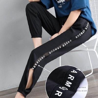 肯梵图防晒速干冰丝女夏季韩版休闲女运动薄显瘦哈伦字母网拼接裤