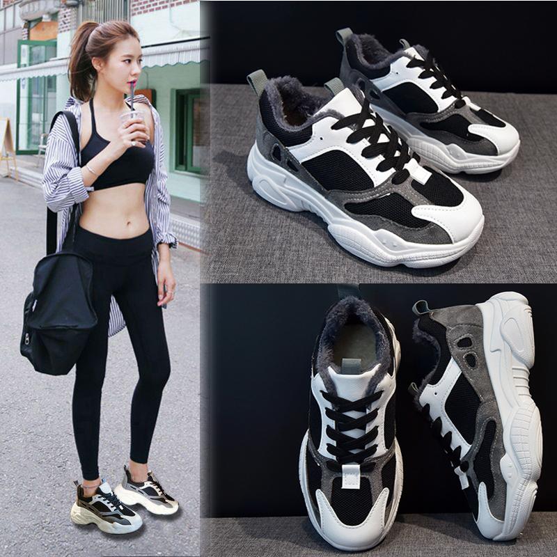 加绒老爹鞋女ins潮冬韩版ulzzang学生运动鞋2019冬季加厚跑步鞋子