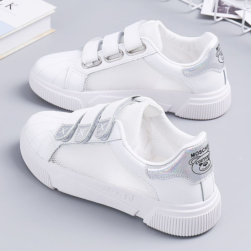 正品怡安踏雪魔术贴小白鞋女网面透气夏款2019夏季新款百搭板鞋白