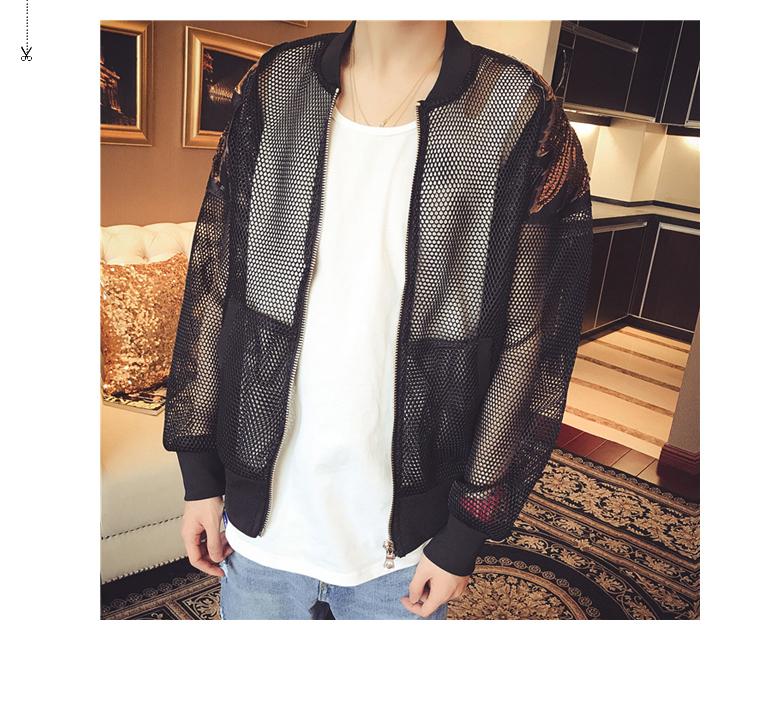 TIM ngu si đần độn Hàn Quốc mùa hè đại bàng vá áo khoác nam mỏng thêu rỗng lưới kem chống nắng áo khoác áo khoác