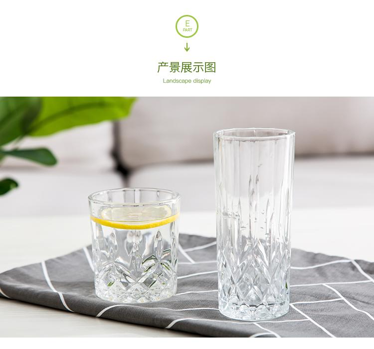 四季美玻璃水杯透明威士忌杯子饮料杯家用玻璃杯啤酒杯茶杯果汁杯详细照片