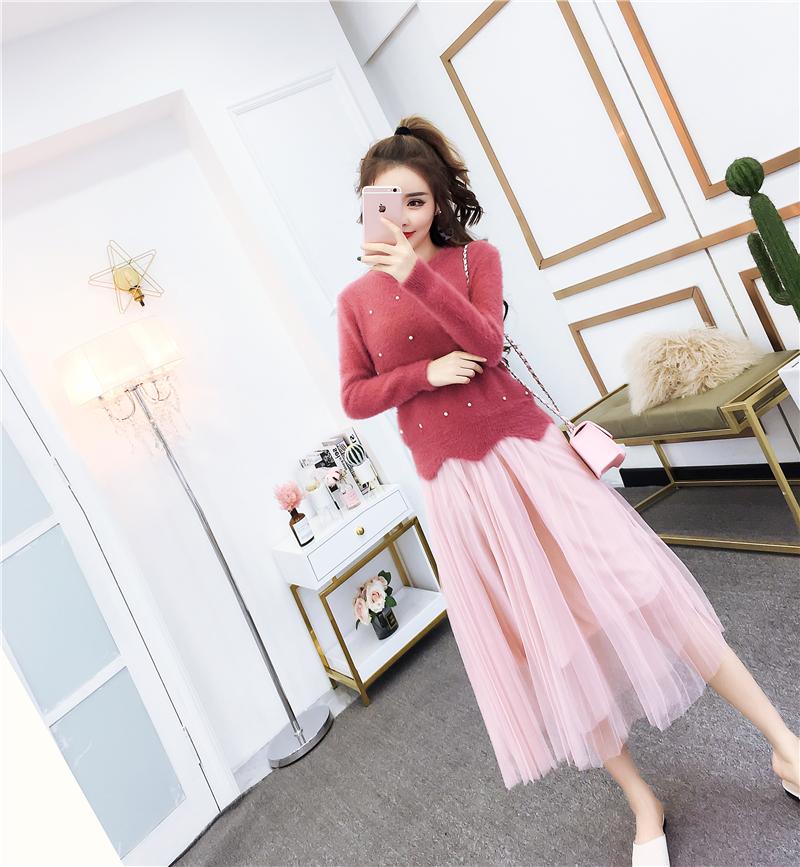 实拍秋季2019韩版洋气钉珠波浪长袖毛衣+高腰网纱半身裙套装