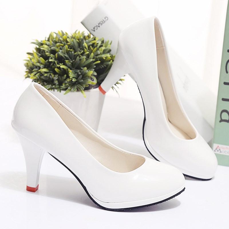 高跟鞋春秋圆头淑女防水黑色台细跟职业正装鞋女鞋漆皮鞋子