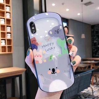 Cute cartoon glass apple x mobile phone shell iphone11pro max oval 8plus female 7 generation new