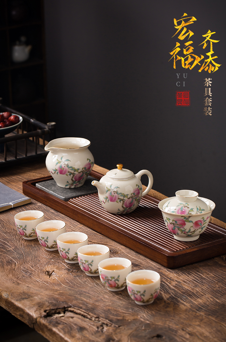 Artisan fairy hand - made the set porcelain kung fu tea set light with high - end key-2 luxury office tea cup lid bowl gift box