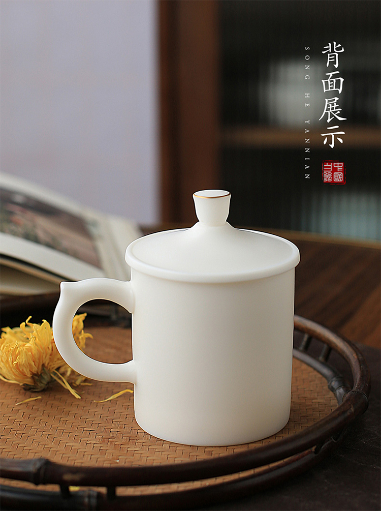 Ancient sheng manual white porcelain up boss make tea cups with cover filter suet jade office cup glass ceramic individuals