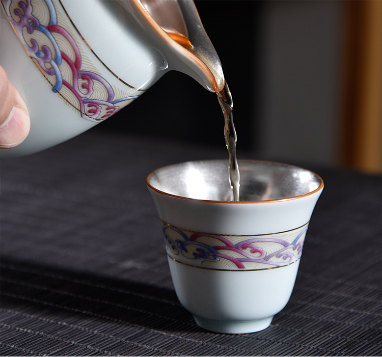 Ancient sheng up enamel see colour tasted silver tea sets ceramic silver gilding kung fu tea cup with lid of a complete set of dishes
