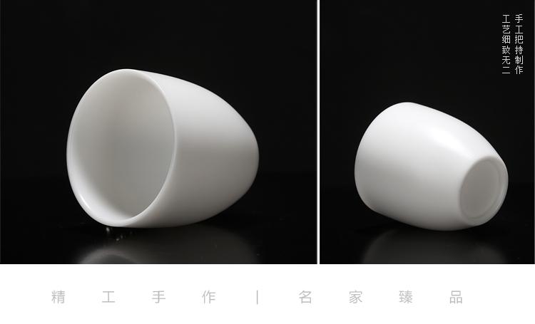 Ancient sheng up new lotus jade porcelain white porcelain inlay silver kaolin jade inlay sample tea cup master cup single CPU