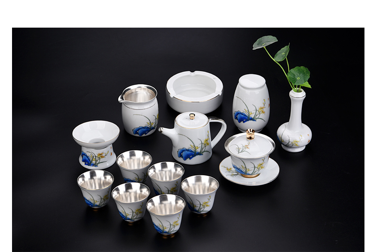 Ancient sheng up ceramic new elegant orchid coppering. As the silver suet jade suit household hand - made the master sample tea cup cup