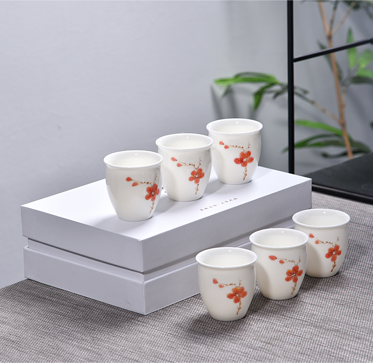 Ancient sheng up new gift boxes, hand - made bucket pastel color glass of jingdezhen ceramic master kung fu tea bowl
