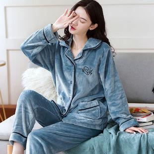 女士秋冬加厚法蘭絨睡衣睡褲甜美居家服套裝