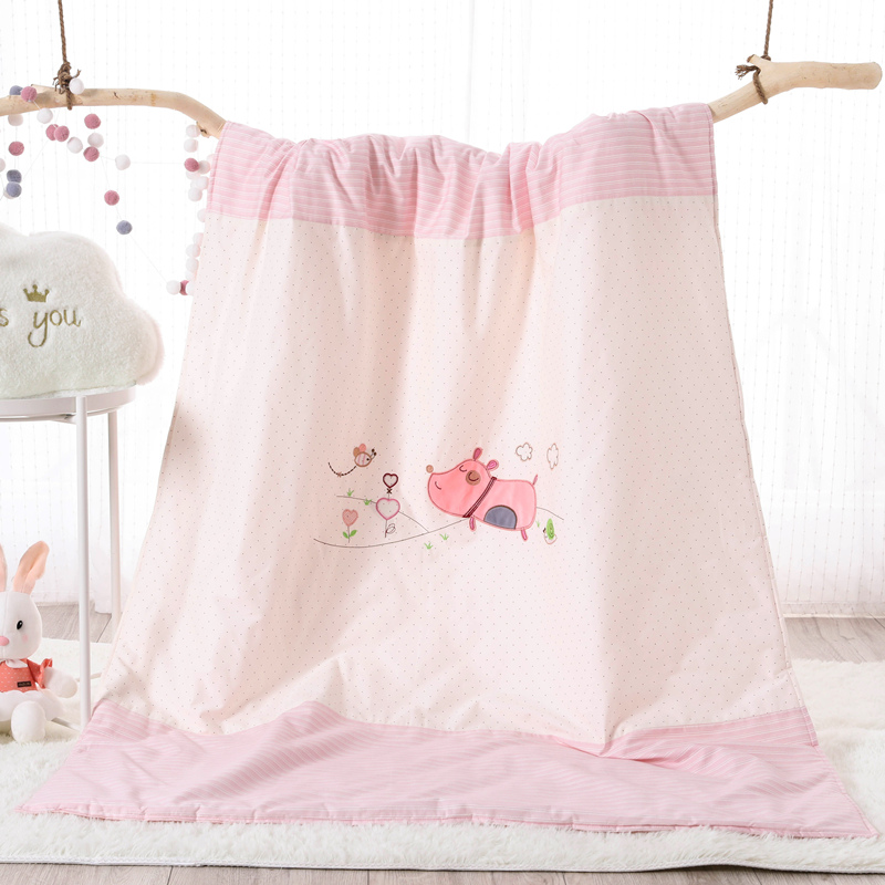 COTTON EMBROIDERED CHILDREN SUMMER QUILT - PIGLET