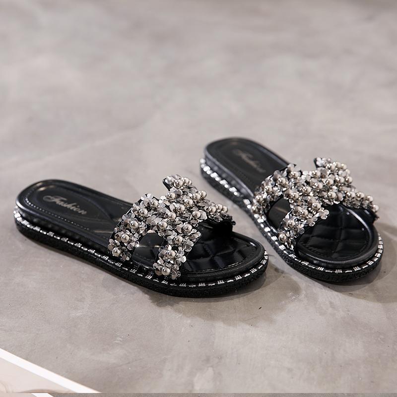 2019韩版拖鞋女外穿时尚百搭网红可爱平底一字拖夏海边沙滩凉拖鞋