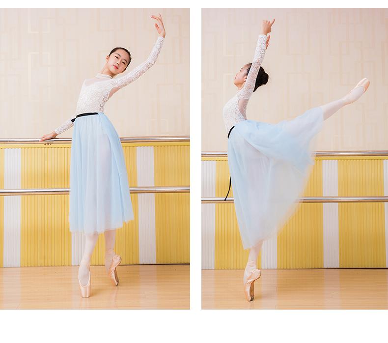 艺考芭蕾舞蹈练功服成人女体操服蕾丝高领长袖连身服详细照片