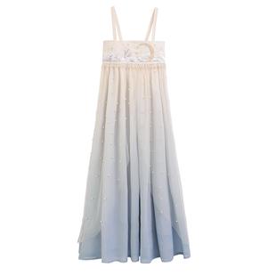 川黛 改良漢服女夏季仙氣漢元素吊帶套裝薄款小裙子人魚姬連衣裙