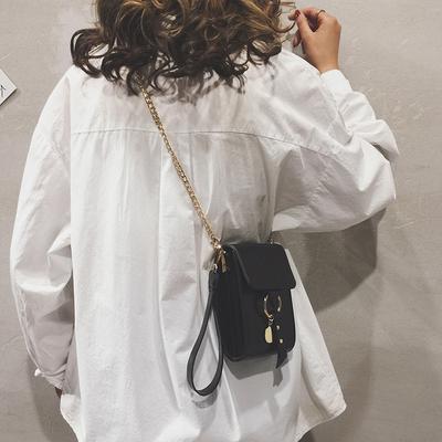 网红小黑包质感斜挎包包女2019新款复古油皮单肩小方包链条手机包