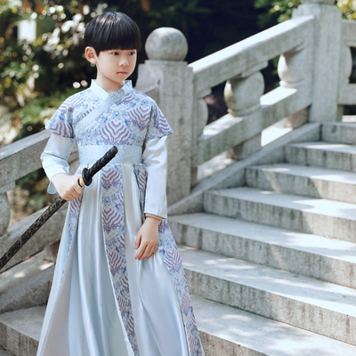 Children Hanfu stage performance warrior swordsman performance robes for boys ancient chivalrous Costumes