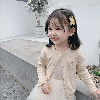 Girls' knitted cardigan children's spring and autumn baby thin cotton coat female baby toddler foreign sweater