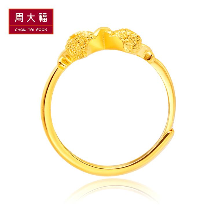 Tai Fook jewelry Princess bow gold gold ring gold female models F1286