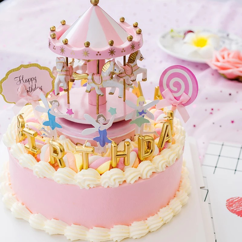 Carousel Music Box Cake Decoration Ornaments Diy Creative Birthday