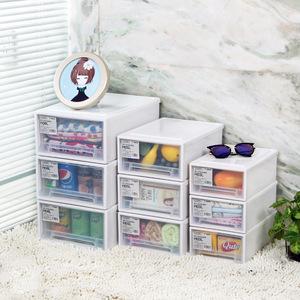 日式单层透明可叠加塑料抽屉收纳箱