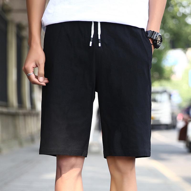 短裤男运动裤纯棉裤子休闲宽松纯色潮流沙滩裤男士运动夏五分裤