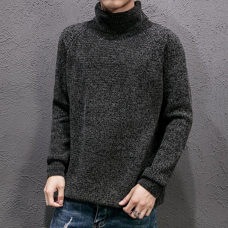 高领毛衣男韩版修身冬季加厚青年线衣潮流个性保暖针织打底衫